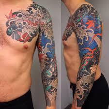 дракон черепаха татуировка японская рукав Slava Starkov