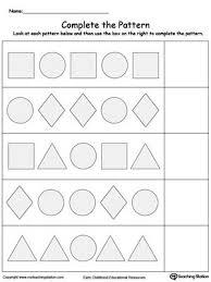 Shape Patterns Stunning Complete The Shape Pattern Patterns Worksheets Pinterest Shape