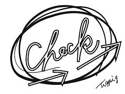 ポップなモノトーンの手書き文字のcheckと矢印とラフな丸640480pix