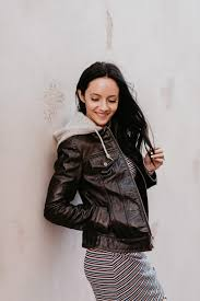 the perfect hooded leather jacket for fall