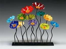 glass flowers garden flower blown glass flowers wall art