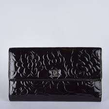 chanel large camellia wallet patent leather