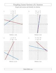 solve systems of linear equations by graphing mixed standard and solving worksheet elimination page the