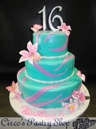 cake boss cakes for sweet 16.  Boss Turquoise And Pink Sweet 16 Fondant Cake With Sugsr Flowers  Inside Boss Cakes For R