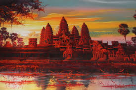 large oil painting of angkor wat cambodia