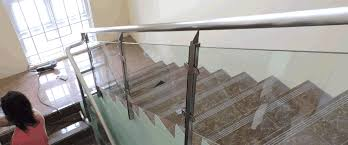 glass stair railing in stainless frame and hand rail philippines