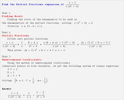 webmathematica output for partial fractions