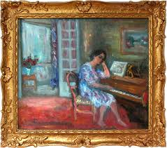 interior scene of woman playing the piano painting by jacques zucker