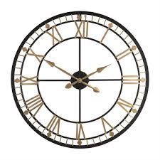 metal wall clock black gold homebase