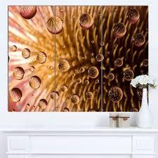 designart mt14136 3p colorful brown flower in raindrops large fl glossy metal wall art brown 36x28