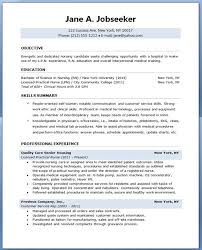 Sample Resume For Nursing Student