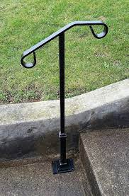 Single post ornamental hand rail 1 or 2 step railing for. Standard Single Post Flat Bar Top Hand Rail 1 Or 2 Step Etsy