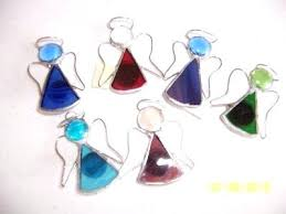 stained glass ornaments stained glass angel magnet ornament with wire wing designs in stained glass