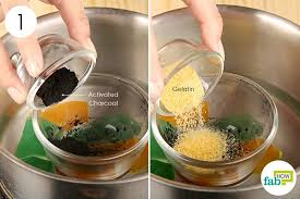 combine activated charcoal and gelatin in a double boiler