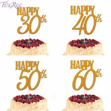Fengrise 1pc Gold Happy 30th Birthday Cake Topper Happy 40 50 60