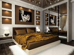 Masculine Bedroom Furniture Bedroom Mirrored Headboard And Brown Fluffy Rug On Masculine