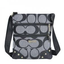 Coach Stud In Signature Small Grey Crossbody Bags NTf6670