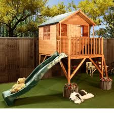 fairy rustic outdoor playhouse with slide design two level