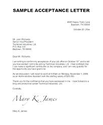 Letter Of Acceptance For Job Reply Offer Accepting Mail Template