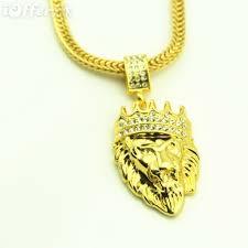 18k gold plate lion head pendant chain hip hop necklace