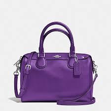 coach handbags purses wallets dillards  coach f36624 mini bennett satchel  in crossgrain leather silver purple