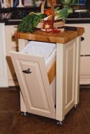 small portable kitchen island. Kitchen, Portable Kitchen Cart Tilt Out Trash Can Cabinet Butcher Block Top White Finish Polymer Container Wooden Material Storage Small Island C