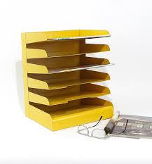 desk office organizer mail sorter letter holder marigold yellow decor inbox bill slot file box metal