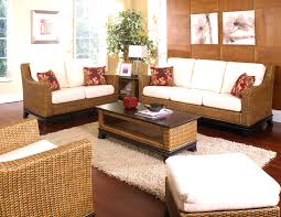 Rattan Living Room Set Comfy Gold Floral Pattern Stylish Leather Wooden Sofa With Some