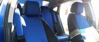 blue 2017 honda civic passenger side view black and blue neosupreme seat covers and seat belt pads