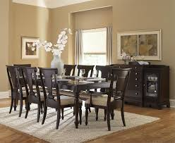 enchanting dining room interior decorations with dark brown wooden dining table with glass top and 8