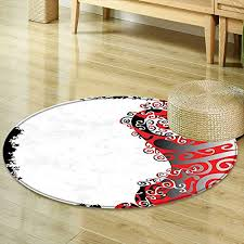 mikihome print area rug trippy abstract shapes with native ethnic effects in colors artistic display black white red silver perfect for any room