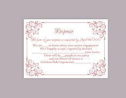 response cards template diy wedding rsvp template editable text word file download printable