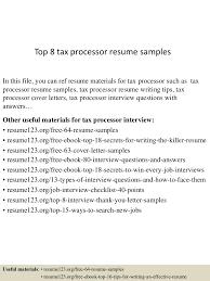 tax processor sample resume paralegal resume objective examples top 8 tax processor resume samples top8taxprocessorresumesamples 150527131946 lva1 app6891 thumbnail 4 top 8 tax processor