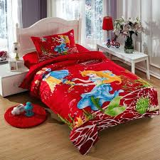 the little mermaid bedding set twin size kids girls toddler cartoon red quilt duvet cover bed in a bag sheet bedspreads cotton sets quilts 2 x photo