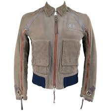 dsquared2 men s 38 distressed taupe corduroy cropped zip er jacket for