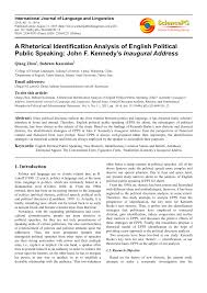 a rhetorical identification analysis of english political public  a rhetorical identification analysis of english political public speaking john f kennedy s inaugural address pdf available