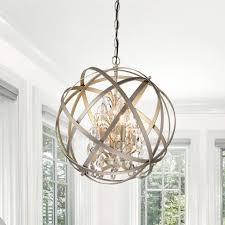 Enjoy free shipping, great prices, best customer services. Benita Brushed Champagne Metal And Crystal Orb 4 Light Chandelier On Sale Overstock 16002994