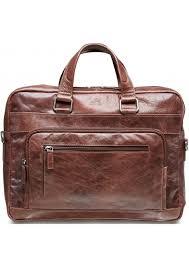 mancini slim leather top zipper laptop briefcase brown 95 751