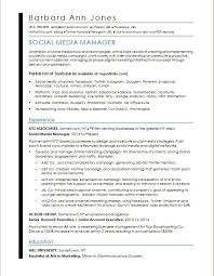 Resume Objective Sales Associate Adorable Social Media Resume Sample Monster