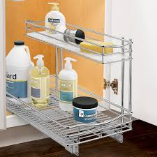 roll out under sink cabinet organizer pull out two tier sliding shelf 11 5 in