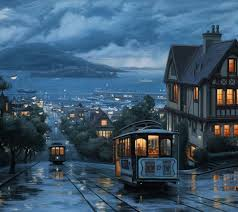 russian hill north beach district in san francisco california painting by thomas kinkade