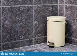 Closed Trash Bin In Bathroom Stock Image Image Of Made