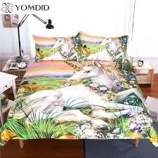 flower duvet cover unicorn bedding sets queen king size oil painting set glass colored bed linens flower duvet cover