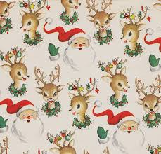 Vintage Christmas Wrapping Paper ~ Santa and Reindeer