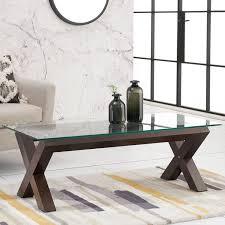 bentley designs lyon walnut glass top coffee table