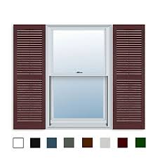 window shutters. Beautiful Window 15 Inch X 35 Standard Louver Exterior Vinyl Window Shutters Burgundy  Pair Inside Shutters Amazoncom