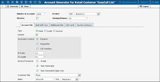 the account generator interface is very similar to add account with the following exceptions