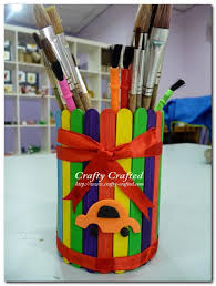 11 rainbow craft stick pencil holder