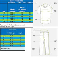 Regular Fit T Shirt Size Chart Body Size Chart