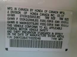 Honda Vin Identification Chart Acura Vin Decoder